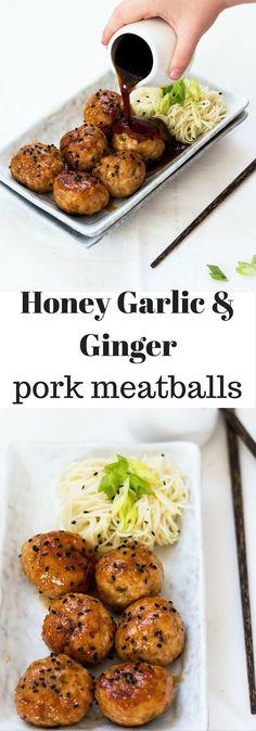 Honey Garlic & Ginger Pork Meatballs . Little bites of flavor the whole family will love. Baked, not fried