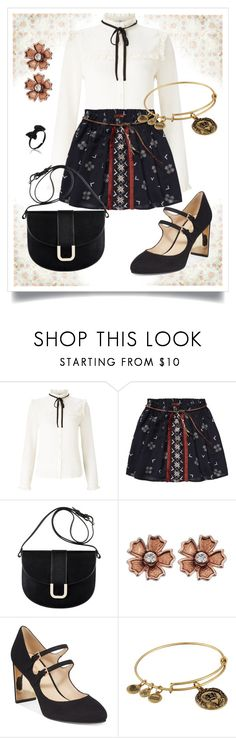 """Scotch and Soda Ethnic Print Skirt"" by dundiddit ❤ liked on Polyvore featuring Lipsy, Scotch & Soda, A.P.C., Nine West and Alex and Ani"