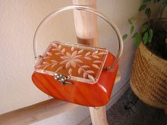 Vintage Florida Handbags Orange BOX Clear Carved LID Clear Handle Lucite Purse | eBay