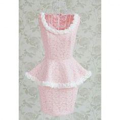$32.99 Vintage Scoop Neck Floral Decoration Sleeveless Women's Peplum Dress With A Belt