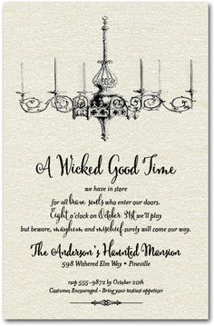 Halloween Invitations: Halloween Chandelier ShimmeryWhite Halloween Invitations | Come see all our Halloween Party Invitations at Announcingit.com for Kids and Adults