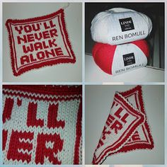 Babsy design YNKA ( you`ll never knit alone ): LFC grytelapper Liverpool Football Club, Liverpool Fc, Knitting Patterns, Diy And Crafts, Projects To Try, Weaving, Cross Stitch, Sport, Design