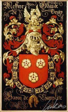 """(205) Claude de VERGY, comte de Gruères (1495-1560) -- """"Messire Claude de Vergy, baron de Champlite"""" -- Armorial plate from the Order of the Golden Fleece, 1559, Saint Bavo Cathedral, Gent"""
