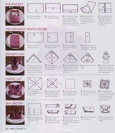 DIY Napkin Folding} 7 Easy Ways to Fold a Napkin....definitely ...