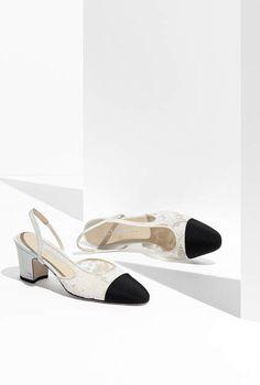Slingbacks, lace & grosgrain-white & black - CHANEL