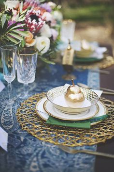 Turquoise Paisley and Gold Place Setting | Cassandra Farley Photography | Winter Woodlands Wedding with Rich Bohemian Details and Luxe Jewel Tones