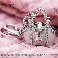 Swarovski Crystal Silver Purse Bag Handbag Key Chains Rings Charms $12.99