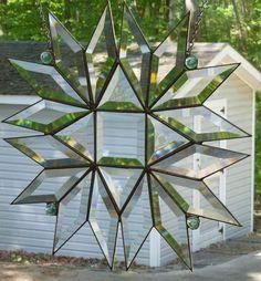 Beautiful Beveled Stained Glass Rainbow Snowflake