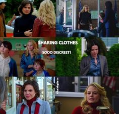 OUAT- Swan Queen. Sharing clothes since 2011. Well in Emma's defense, she did leave her town in the Pilot without a suitcase of clothes and never went back. Maybe Henry was giving her his moms clothes?