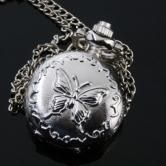 BG84 Antique Silver Butterfly Pocket Watch Necklace Chain