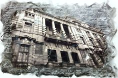 An experiment using a photograph. The Rand Club is much too fiddly to draw from scratch, so this was my solution. The facade emerges from the swirls of paint and, like the building itself, stands firm in the shifting currents of history. Swirls, Experiment, Facade, Louvre, Photograph, Draw, Club, History, Building