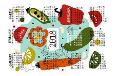 2018 Pickles Tea Towel Calendar by oleynikka fabric by oleynikka on Spoonflower - custom fabric