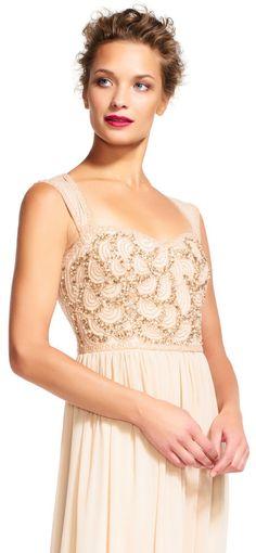 Adrianna Papell   Chiffon Dress with Rose Beaded Bodice