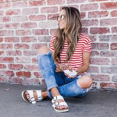 red & white striped top and ripped skinny jeans and birkenstocks