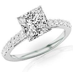 0.91 Carat Princess Cut/Shape 14K White Gold Classic Graduating Pave Set Diamond Engagement Ring ( F-G Color ,...