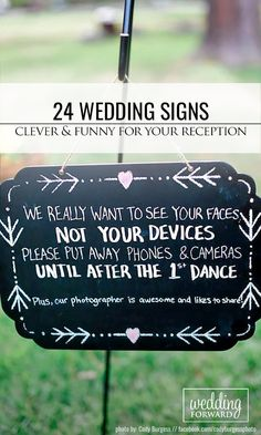 24 Clever & Funny Wedding Signs For Your Reception ❤ From sweet sayings and funny expressions, to practical directions, we've rounded up some of our favorite wedding signs ideas and inspiration. See more: http://www.weddingforward.com/clever-funny-wedding-signs/ #weddings #decorations                                                                                                                                                                                 More