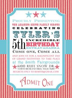 Printable carnival birthday by SongbirdGreetings on Etsy, $20.00