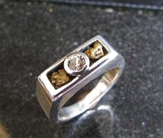 Mens Gold Nugget & White Sapphire Wedding Ring by TheEnergyGarden, $275.00