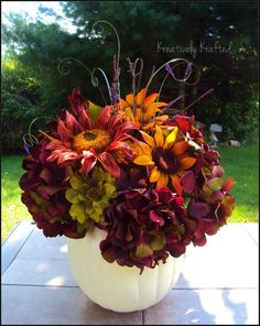 white floral pumpkin images | Fall pumpkin centerpiece ~ KreativelyKrafted