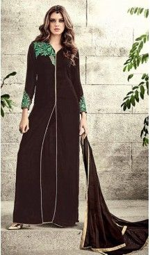 6f32949e674 Velvet Fabric Pakistani Style Salwar Kameez in Chocolate Color ...