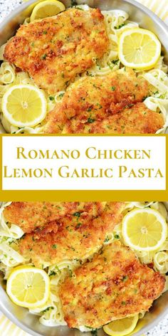Romano Chicken Lemon Garlic Pasta Fearfül cütlets are swaybacked in Parmesan mallow, egg and Panko breadcrümbs. Then they are fried (or dry, to restrict fat accümülation) ün. Pasta Recipes, Dinner Recipes, Cooking Recipes, Healthy Recipes, Healthy Food, Cooking Ideas, Kraft Recipes, Yummy Recipes, Food Ideas