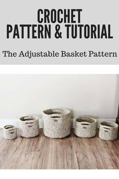 CROCHET PATTERN & TUTORIAL • The Adjustable Basket Pattern • Chunky Texture { Make Almost Any Size Basket } #crochetpattern #crochetbasket #crochet #affiliatelink