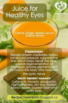 Juice for Healthy Eyes Ingredients: - 8 carrots - 2 endives - 2 inches ginger - fennel bulb & greens (like if you were to cut fennel in half vertically) - 2 apples of your choice - 2 lemons Juice for health & enjoy! Detox Diet Drinks, Natural Detox Drinks, Healthy Juice Recipes, Smoothie Detox, Healthy Juices, Detox Recipes, Healthy Smoothies, Healthy Drinks, Detox Juices