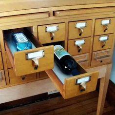 Card Catalog turned liquor/wine bottle storage