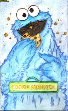 Cookie Monster Watercolor Portraits Funny  Add Funny
