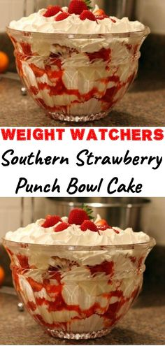 Southern Strawberry Punch Bowl Cake is part of Weight watchers desserts - Weight Watcher Desserts, Weight Watchers Meals, Ww Recipes, Cooking Recipes, Cooking Food, Healthy Cooking, Food Recipes Summer, Healthy Recipes, Healthy Strawberry Recipes