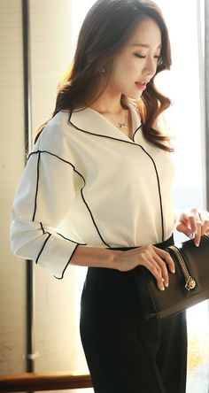 StyleOnme Simple Lined Collar Blouse #blouse #lined #collar #chic #modern