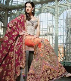 orange and magenta bridal