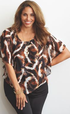 A perfect layering piece | AGB® Animal Print Layered Look Top