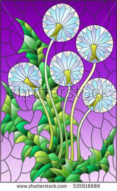 Illustration of Illustration in stained glass style flower of blowball on a purple background vector art, clipart and stock vectors. Stained Glass Flowers, Stained Glass Designs, Stained Glass Patterns, Stained Glass Art, Stained Glass Windows, Lion Flower, Flower Art, Mosaic Art, Mosaic Glass