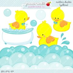Yellow Rubber Duckie Cute Digital Clipart - Commercial Use OK - Digital Rubber…
