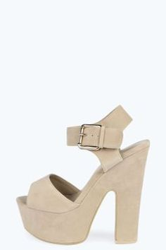 5d0698574b4c Lexi Buckle Strap Platform Peeptoe Heels Heeled Mules Sandals
