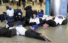 Not so upbeat? Members of the French team seemed to be sleeping off the closing ceremony at St Pancras