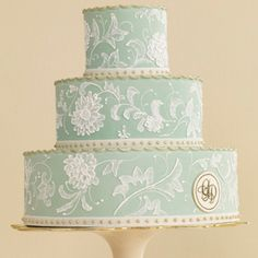 aqua-colored Cake by Jan Kish of La Petite Fleur