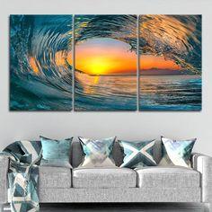 Coastal Pictures, Nature Pictures, Sunset Sea, Flamenco Dancers, Large Canvas Wall Art, Sea Waves, Orange Peel, Wall Art Sets, Coastal Living