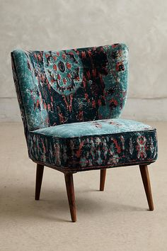 Anthropologie Dhurrie Occasional Chair in washed, printed velvet