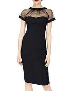Check the details and price of this Mesh Paneled Short Sleeve Sheer Bodycon Midi Dress (Black, VICONE) and buy it online. VIPme.com offers high-quality Bodycon Dresses at affordable price.