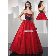 A-line Strapless Beaded Tulle and Taffeta Prom Dress PD33889  Price: $175.00  Buy now enjoy -10% Discount.