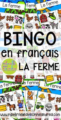 Bingo de la ferme | FRENCH Farm Bingo | vocabulaire | maternelle | jouer en français French Teaching Resources, Teaching French, Core French, French Classroom, French Teacher, How To Speak French, French Lessons, Bingo Cards, France