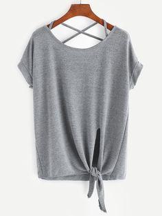 Camiseta con espalda cruzada y nudo en la parte delantera-(Sheinside)