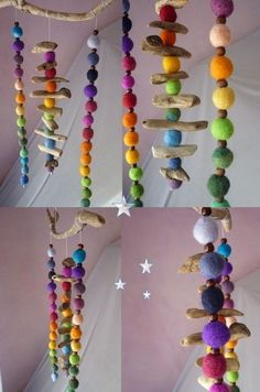 Fancy together.Decorative objects - colorful driftwood rainbow felt mobile - a . - Fancy together . Decorative objects – Colorful driftwood rainbow felt mobile – a unique product - Kids Crafts, Felt Crafts, Wood Crafts, Diy And Crafts, Craft Projects, Arts And Crafts, Craft Ideas, Simple Crafts, Recycled Crafts