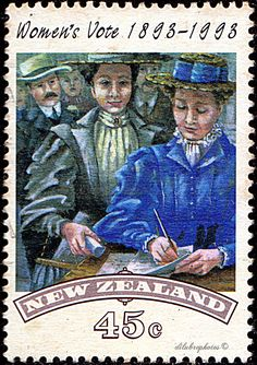 New Zealand.  WOMAN SUFFRAGE CENTENARY.  Scott 1151 A369, Issued 1993 Mar 31, Litho., Perf. 13 1/2, 45. /ldb. Women Right To Vote, Suffragettes, Kiwiana, New Zealand, Design Inspiration, Stitch, History, Desks, Drawings