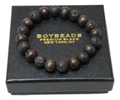 "BOYBEADS ""Craig"" 10mm volcanic lava + wood mens bead bracelet - BOYBEADS"