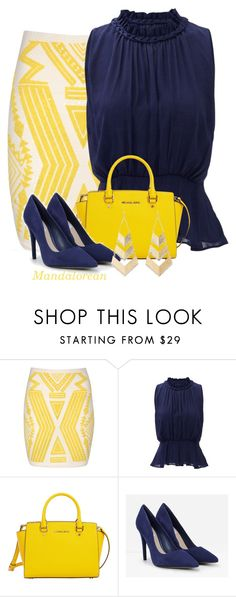 """""""Yellow Aztec Print Skirt"""" by mandalorean ❤ liked on Polyvore featuring Jane Norman, Greylin, MICHAEL Michael Kors, CHARLES & KEITH and Charlotte Russe"""
