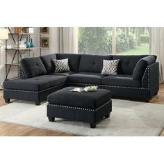 3 pc Chapin viola martinique black linen like fabric sectional sofa reversible chaise and ottoman. This set includes the 2 pc reversible chaise sectional sofa with throw pillows and ottoman. Sectional measures across the back, Chaise comes out an Black Sectional, 3 Piece Sectional Sofa, Sectional Ottoman, Fabric Sectional, Sofa Couch, Sofa Set, Couches, Leather Sectional, Ottoman Cushions