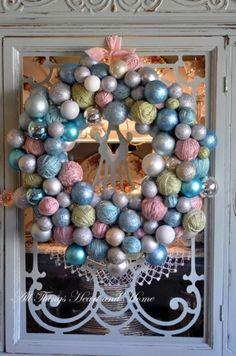 Yarn Ball and Christmas Ornament Wreath DIY Christmas Ornament Wreath, Christmas Wreaths, Christmas Crafts, Christmas Decorations, Christmas Yarn, Christmas Balls, Tree Decorations, Blue Christmas, Christmas Colors